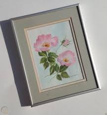 Original SIGNED painting MYRTLE CARLSON Bolton ct FLORAL watercolor WILD  ROSES   #1824091432
