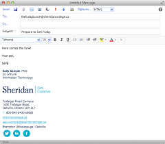 mail sample employee email and calendar adding sheridans corporate signature