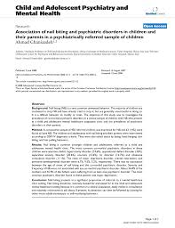 Pdf Association Of Nail Biting And Psychiatric Disorders In