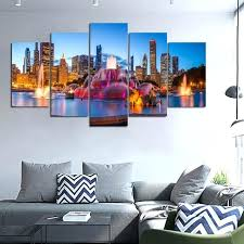 chicago skyline wall art 5 piece printed canvas painting skyline night fountain room decor print poster