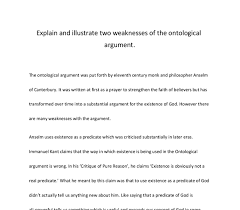 explain and illustrate two weaknesses of the ontological argument document image preview