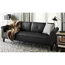 Leather Furniture For Living Room Norton 3 Pc Black Faux Leather Modern Living Room Sofa Set