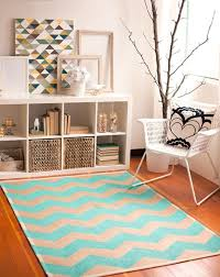 refreshing blue chevron rug