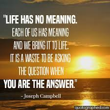 Joseph Campbell Quote Life Has No Meaning Each Of Us Inspiration What Is The Meaning Of Life Quotes