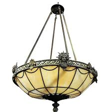 art deco inspired bronze liberty stained glass chandelier saay