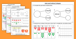 Integers Chart Free Add And Subtract Integers Homework Extension Year 6