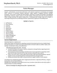 Skills Resume Example Talent Manager