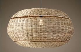 wicker chandelier woven mini shades