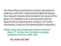 Ppt In Text Parenthetical Citations Mla Style Powerpoint