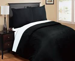 attractive picture of bedroom decoration using drum white bedside lamp shade including black wood queen headboard and plain black and white duvet covers