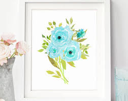 yellow and blue floral wall art