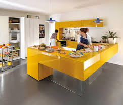 Yellow And Gray Kitchen Decor Fascinating Yellow Kitchen Cabinet Storages With Grey Kitchen Wall