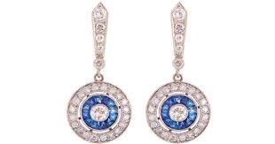 lyst alexis danielle jewelry art deco sapphire diamond halo chandelier earrings in blue