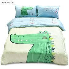 xyzls kids cartoon crocodile bedding set 100 cotton children twin queen size duvet cover flat