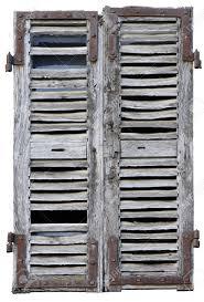 Fenster Mit Alten Holz Fensterläden Auf Weißem Grund Geschlossen