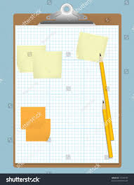 Illustration Graph Paper Sticky Notes Pencils Stock Vector