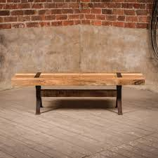 industrial style rustic elk bench