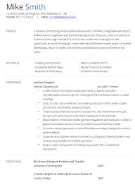 Fashion Resume Examples Outathyme Com