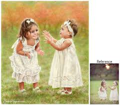 portrait painting of two sisters the photo was faded but i painted the scene with portrait painting of two sisters the photo was faded but i painted the
