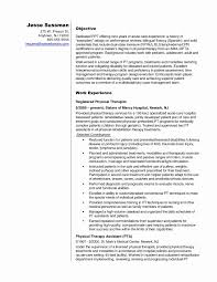 Sample Physical Therapy Resume Resume format for Physiotherapist Beautiful Sample Physical therapy 47