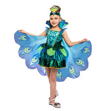 Peacock <b>Dress</b> with Feather Wings and Headband for <b>Girls</b> ...