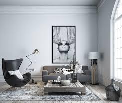 Monochrome Living Room Decorating Dark Pendant Light White Dining Chair White Sofa Dark Curtain