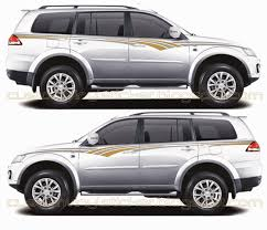 Pajero Sticker Design Mitsubishi Pajero White Grey Gold Strip Sticker Concept