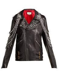 gucci yankees crystal embellished leather biker jacket in black multi