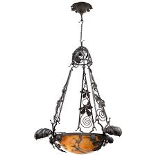 20th century french wrought iron and alabaster chandelier for