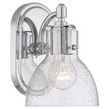 chrome bathroom sconces. Minka Lavery 1-Light Chrome Bathroom Sconce With Clear Seeded Shade Sconces O