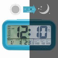 winfong alarm clock backlight lcd digital alarm clock 3 alarms thermometer calendar display smart nightlight soft