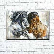 horse canvas art modern abstract canvas art fighting horse duel oil painting print on canvas wall art decor canvas
