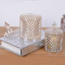 Decorative Glass Candy Jars Glass candy jars with lid wedding decoration Geo cut glass candle 51