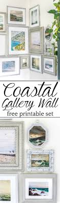 a free printable set of a coastal gallery wall featuring antique ocean paintings and how to