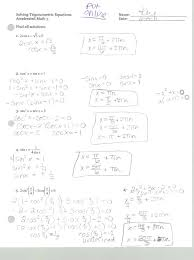 precalculus 441 solving trigonometric equations worksheet part 2