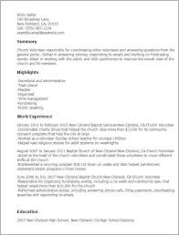 Resume Templates: Church Volunteer