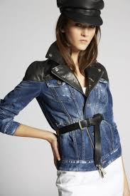 dsquared2 contrasted leather denim biker jacket denim outerwear woman