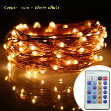 Warm White Led String Lights White Wire Us 12 29 18 Off 33ft 10m 100leds Copper Wire Warm White Led String Lights Christmas New Year Starry Fairy Lights Ac Dc Adapter Remote Control In Led