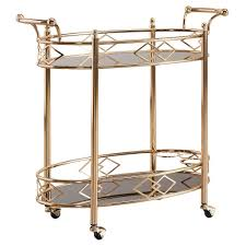 Annie Vintage Metal & Glass Bar Cart - Rose Gold - Inspire Q