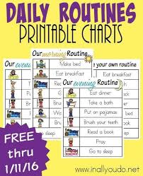 Daily Routines Printable Charts Daily Routine Chart Daily