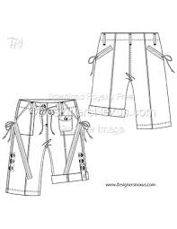 Shorts Design Template Flat Fashion Sketches Bottoms Shorts Template 018
