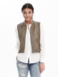 banana republic womens heritage leather grommet vest