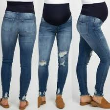 Maternity Jean Size Chart Details About S Xxl Pregnant Woman Ripped Jeans Maternity Pants Trousers Nursing Prop Belly