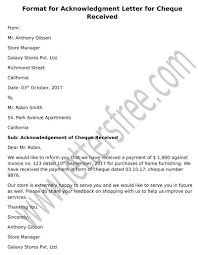 Letter Of Acknowledgement For Cheque Received Free Letters