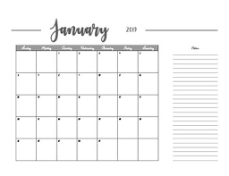 Horizontal Calendar 2019 Calendar Horizontal Instant Download 24 Pages