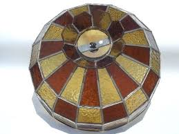 vintage leaded glass lamp shade amber stained for ceiling light shades