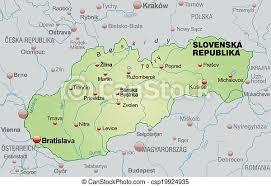 Slovakiens huvudstad heter bratislava och ligger ca 65 km från wien. Karta Slovakien Oversikt Gron Pastell Canstock