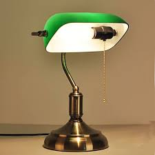 american reuse old shanghai antique green cover of national bank study desk lamp bronze glass