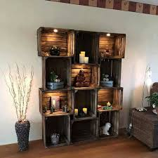 Ahh! So pretty with the stain and those lights! Wooden crates decorted as a