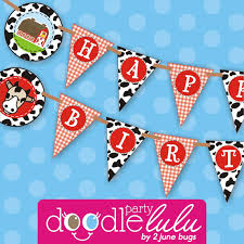 instant diy party decorations farm animal barnyard cute birthday banners